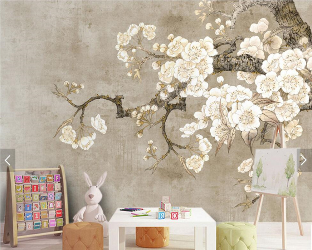 Chinese vintage hand drawn ink lotus wallpaper,living room sofa TV wall bedroom study restaurant Custom murals papel de parede large mural papel de parede european nostalgia abstract flower and bird wallpaper living room sofa tv wall bedroom 3d wallpaper