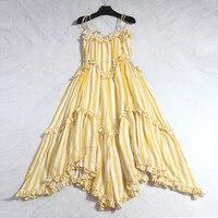 New Runway Designer Women Dress 2018 Summer High Quality Stripes Print Sexy Women Asymmetrical Spaghetti Strap Linen Dress