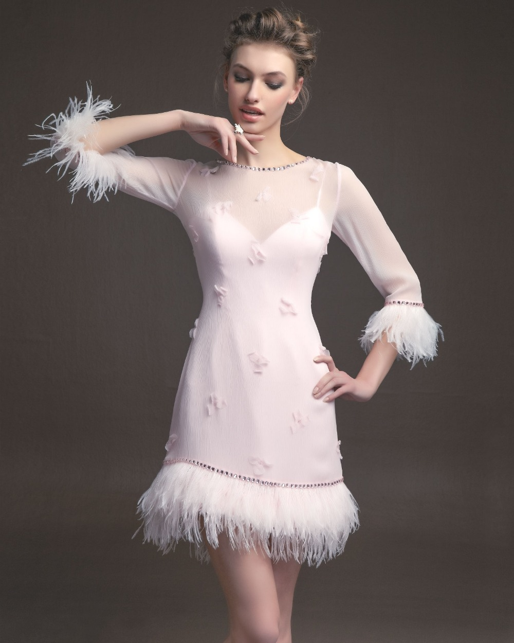 Pink Wedding Dress Feathers : Pink feather dress buy cheap lots from china