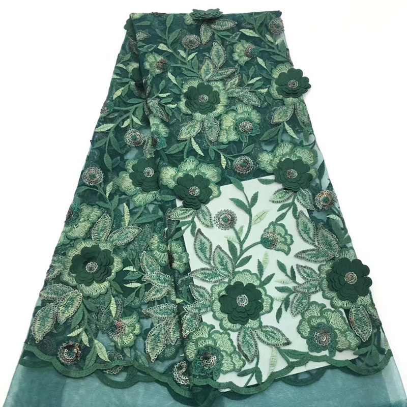 (5yards/pc) beautiful green African lace fabric appliqued French lace fabric with sequins and embroidery for party dress FLC921(5yards/pc) beautiful green African lace fabric appliqued French lace fabric with sequins and embroidery for party dress FLC921