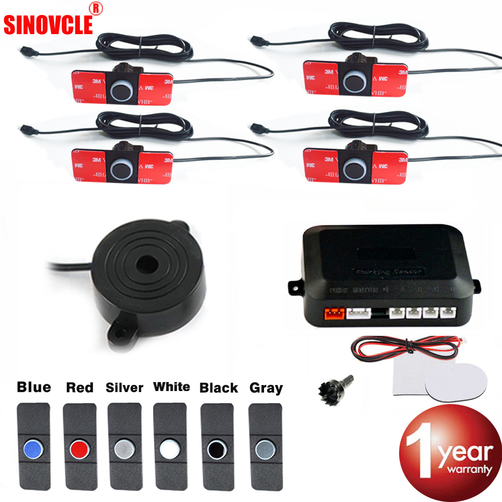 SINOVCLE Car Parking Sensor Kit Buzzer 4 Sensors 16mm Backlight Display Reverse Backup Radar Monitor System 12V 6 Colors