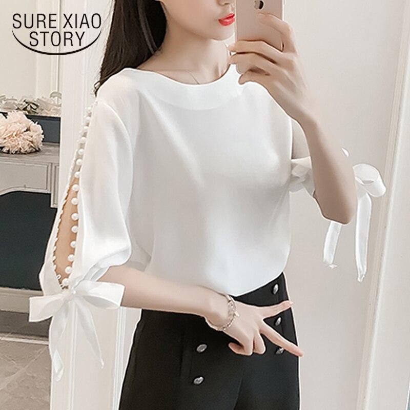 New 2018 Summer Pearl Sleeve Sweet Women   Blouses     Shirt   White   Shirt   Korean Chiffon   Shirt   Bow Fresh Tops Female Blusas 0359 40