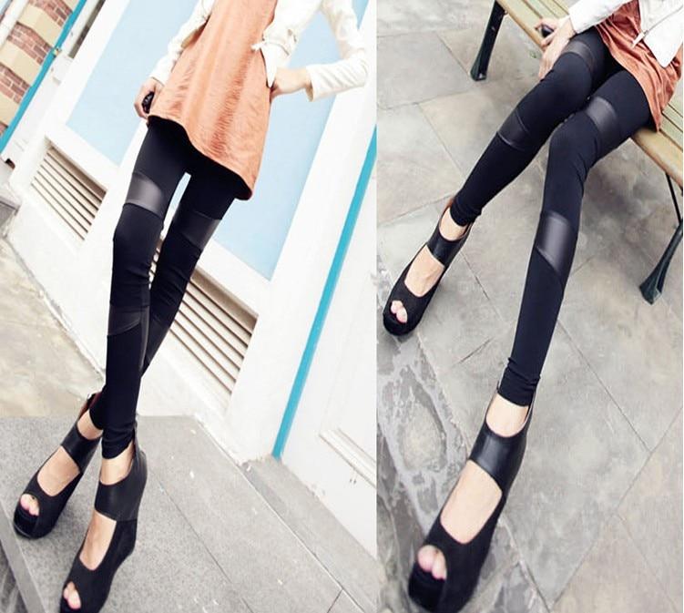 Nové sexy dámské švy natahované umělé kůže zpět legíny kalhoty módní legíny pro ženy hot prodej Doprava zdarma