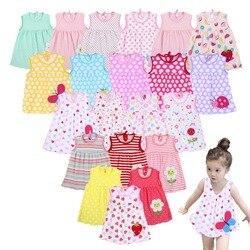 Летний для новорожденных платья платье для девочек детское хлопковое мини-платье принцессы с круглым вырезом без рукавов милый Декор с узо...