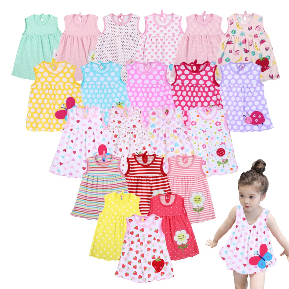 Newborn Baby Summer Dresses Girls Dress Baby O-neck Sleeveless Cotton Princess Mini Dress Child Cute Pattern Decor Dot Clothes
