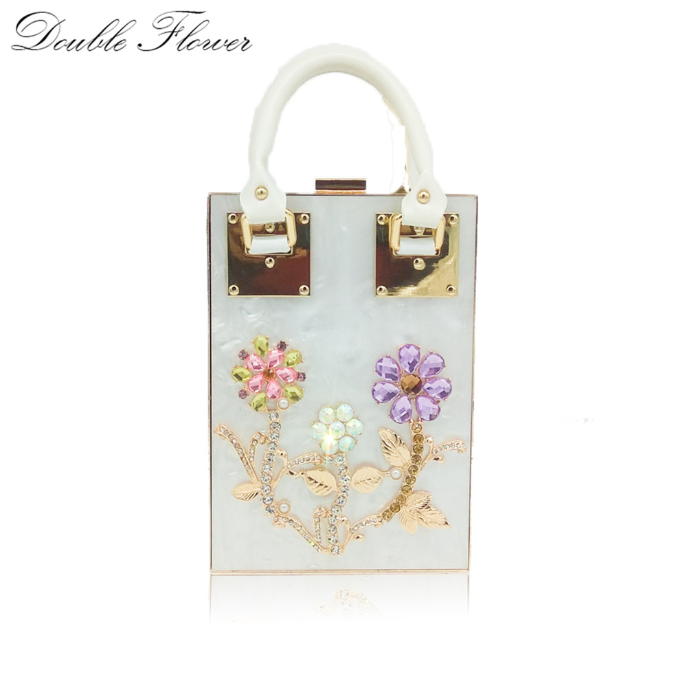 Double Flower Crystal Flowers Acrylic Women's Fashion Chain Shoulder Handbags and Purse Metal Day Clutches Box Crossbody Bag 2017 120cm diy metal purse chain strap handle bag accessories shoulder crossbody bag handbag replacement fashion long chains new