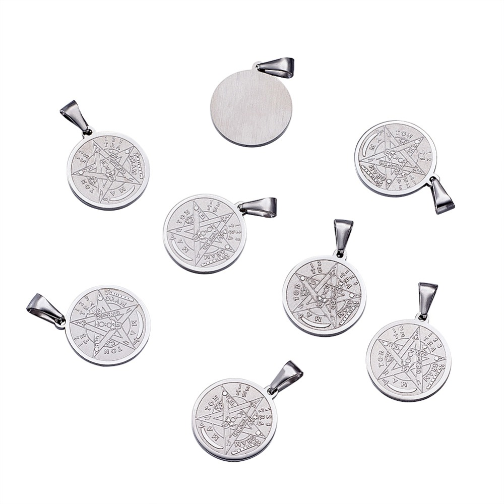 Image 2 - 10pc Religion Vintage 304 Stainless Steel Flat Round Carved Tetragrammaton Necklace Jewelry Findings Pentagram Pendant 27x24x2mm-in Pendants from Jewelry & Accessories