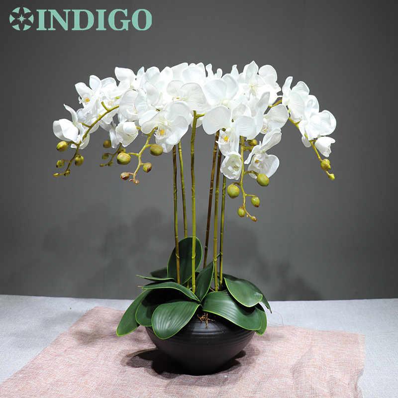 INDIGO-Phalaenopsis Orchidee Real Touch Künstliche Blume Hochzeit Blume Orchidee Floral Party Freies Verschiffen