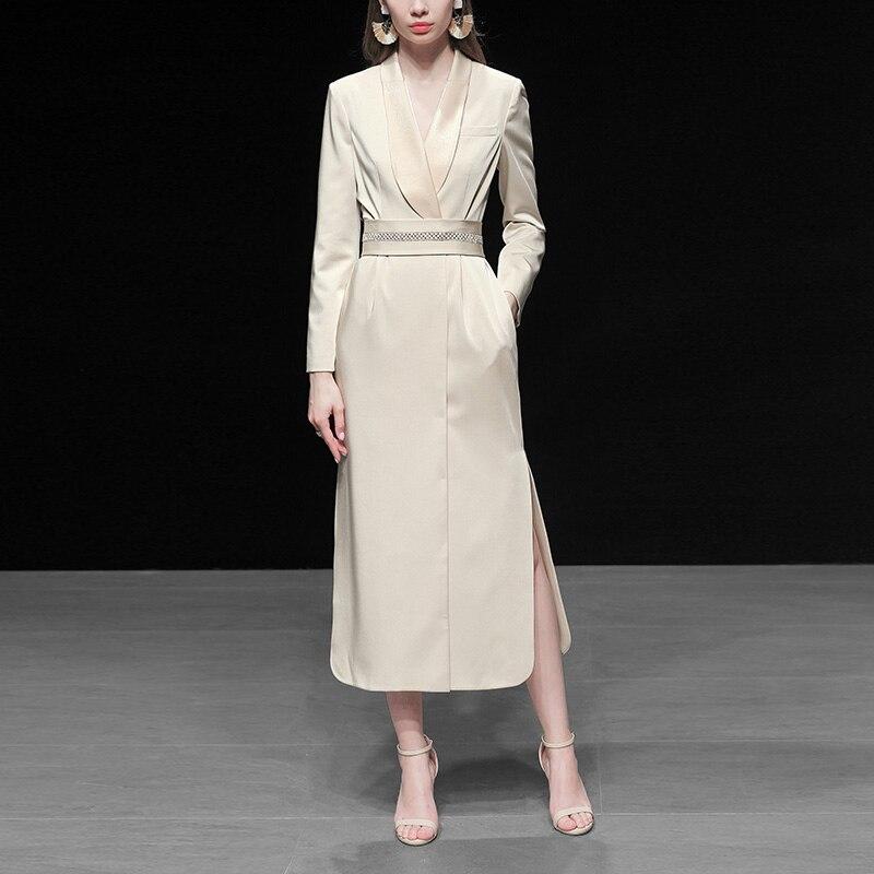 Runway Luxury Dress Suits For Women 2020 High Quality Autumn Winter Elegant Long Maxi Dress Belt Office Lady Formal Work Wear
