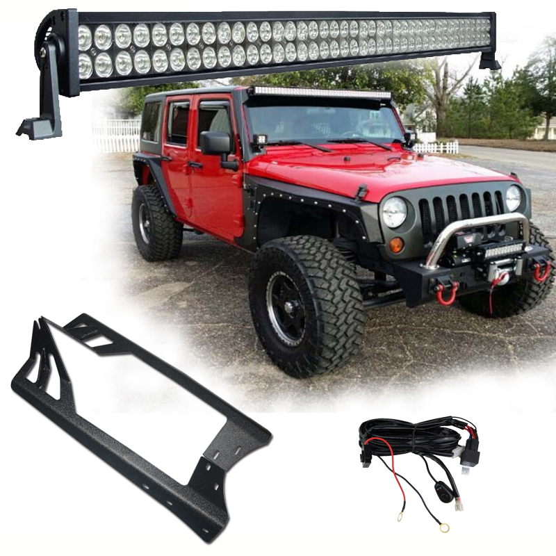1 X 300W 52'' LED Light Bar Headlights + Windshield Mounting Brackets +  For Jeep Wrangler JK 07-15 4WD SUV Wiring Switch Kit