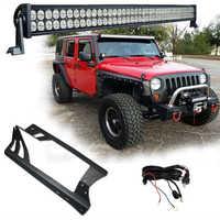 1 x 300W 52'' LED Light Bar Headlights + Windshield Mounting Brackets + for Jeep Wrangler JK 07-15 4WD SUV Wiring Switch Kit