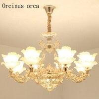 Europäischen luxus zink legierung kronleuchter villa esszimmer schlafzimmer Amerikanischen stil verbindung kristall goldene Kronleuchter Pendelleuchten    -