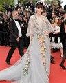 2016 Fan Bingbing 68o Festival de Cine de Cannes de la alfombra roja vestido de Flor de la venta caliente Celebrity Dresses A-Line Scoop Neck Vestidos de Noche