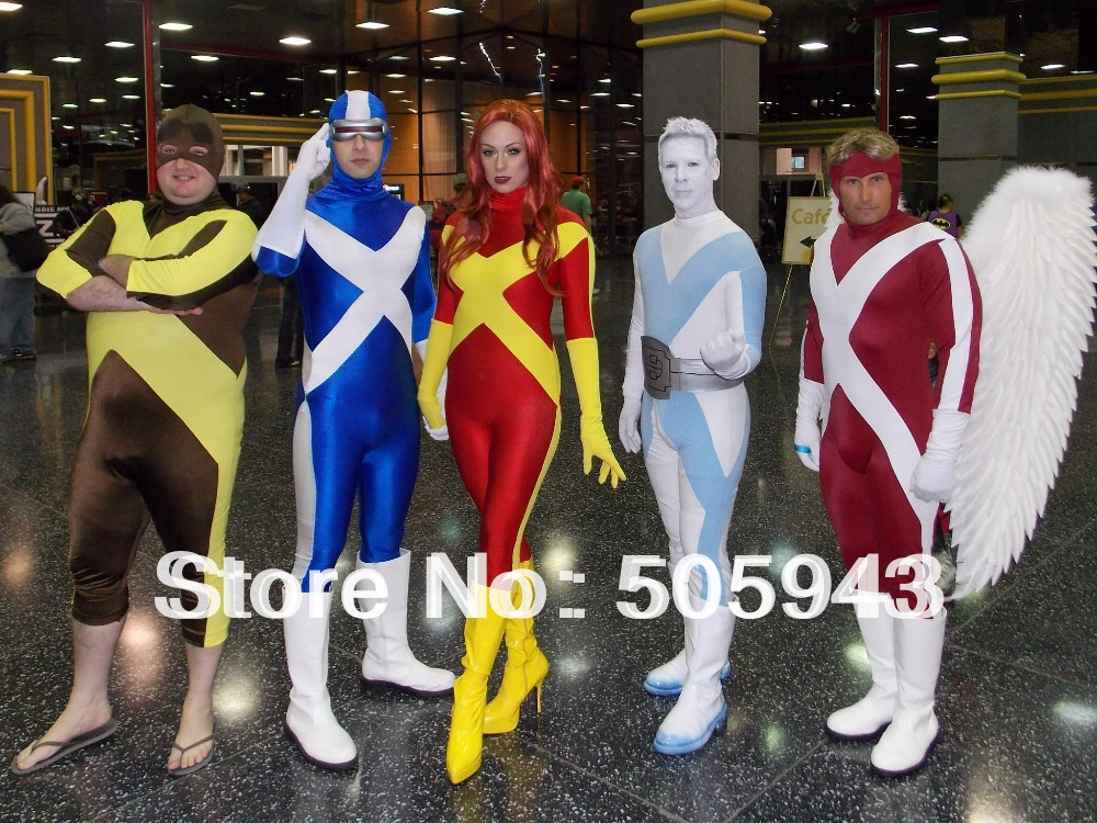 Free Shipping DHL New Arrival 5 Colors X-Factor Jean Grey Zentai Costume Lycra Spandex Halloween Costume Zentai Catsuits