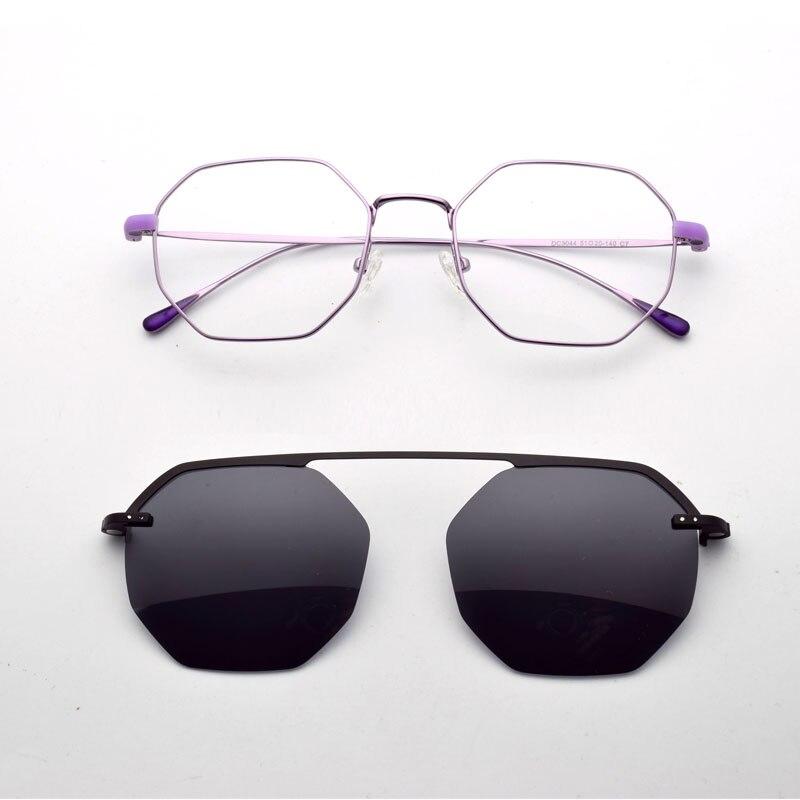 Lunettes cadre pour femmes rétro polygone Ultra-léger mince côté lunettes violet polarisant lunettes de soleil aimant décoratif Glasse