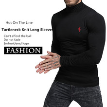 New T-Shirt Men 2019 Spring Autumn Long Sleeve Turtleneck T Shirt Skinny Brand Clothing Fashion Embroidered Cotton Tee Tops