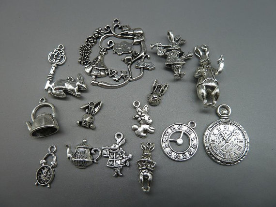 Alice in Wonderland Charm White Rabbit Pendant Enamel Teacup Antiqued Bronze