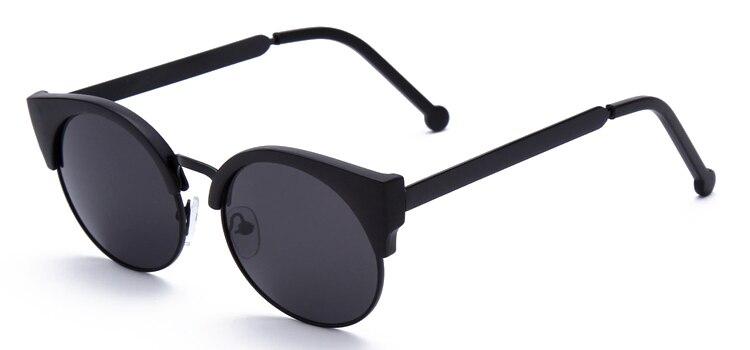 Женские очки, кошачий глаз, очки, Ретро стиль, половинная оправа, металлические оправы для очков, по рецепту, оптическая близорукость, компьютерные прозрачные очки - Цвет оправы: Matte Black sunglass