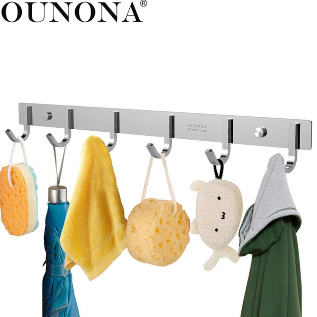 OUNONA Bathroom Rack 304 Hook Rail Coat Hook Rack With 6 Hooks Storage  Organization For Bedroom
