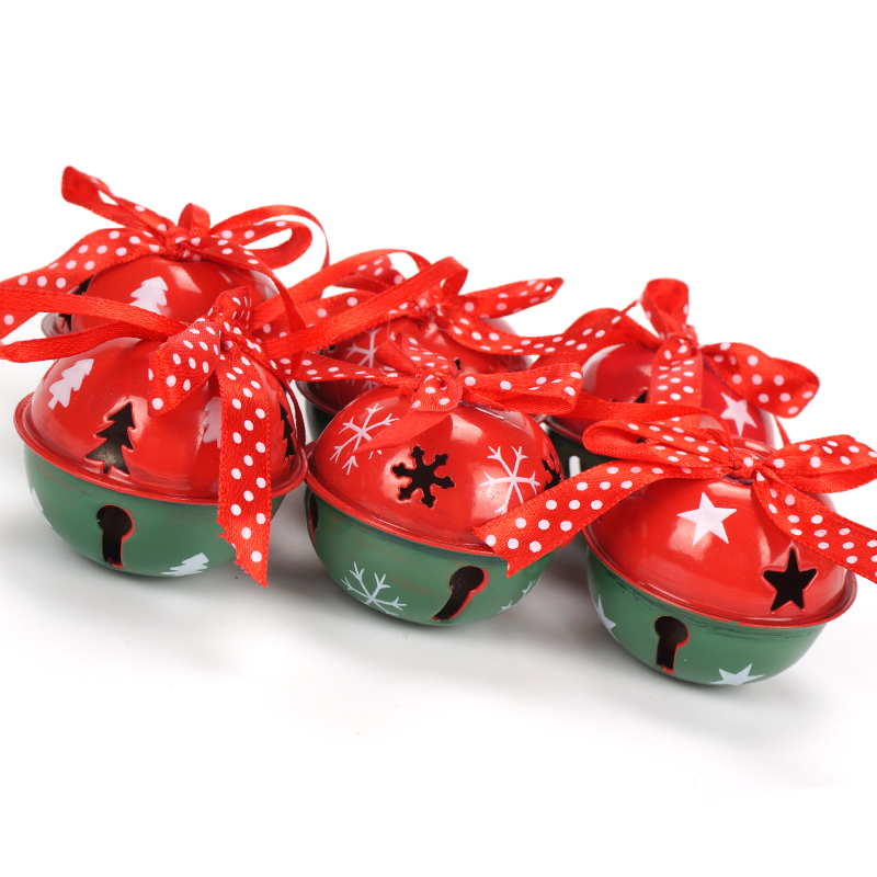 aliexpresscom buy christmas decoration for home 6pcs red green white metal jingle bell with ribbon merry christmas tree decoration 50mm xmas from