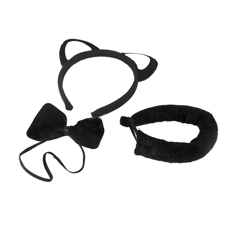 1 Set Black Anime Cosplay   Headwear   Accessory cat Ears Plush Tail Bow-tie Girls Women Halloween Party Cosplay Lovely Gifts