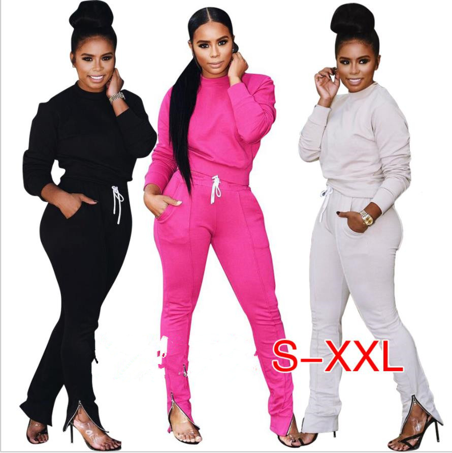 2018 Tracksuit Women Two Piece Set Top And Track Pants Leggings Sexy Bodycon 2 Piece Sweatsuit