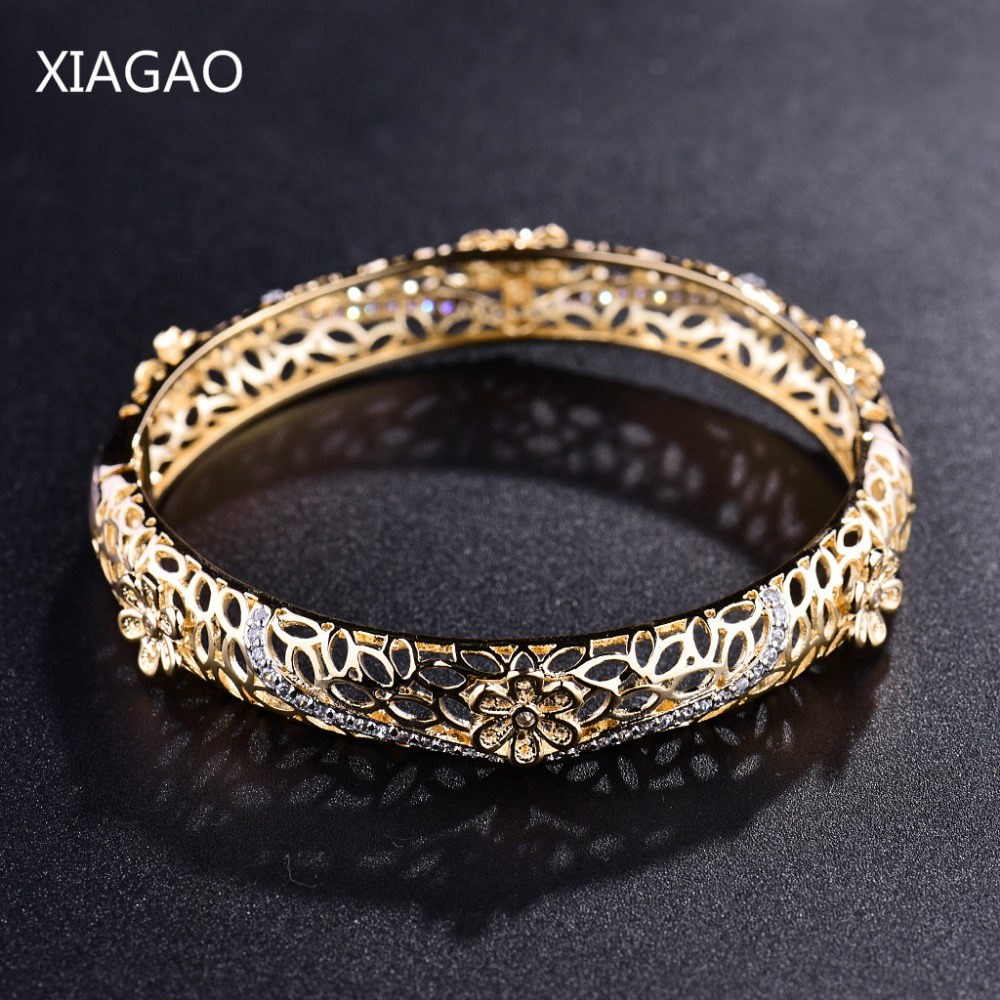 XIAGAO Braided Gold Color Hollow Pattern Flower Bangles for Women Yellow Cubic Zirconia Woman Bangle Bracelets Jewellery Gift