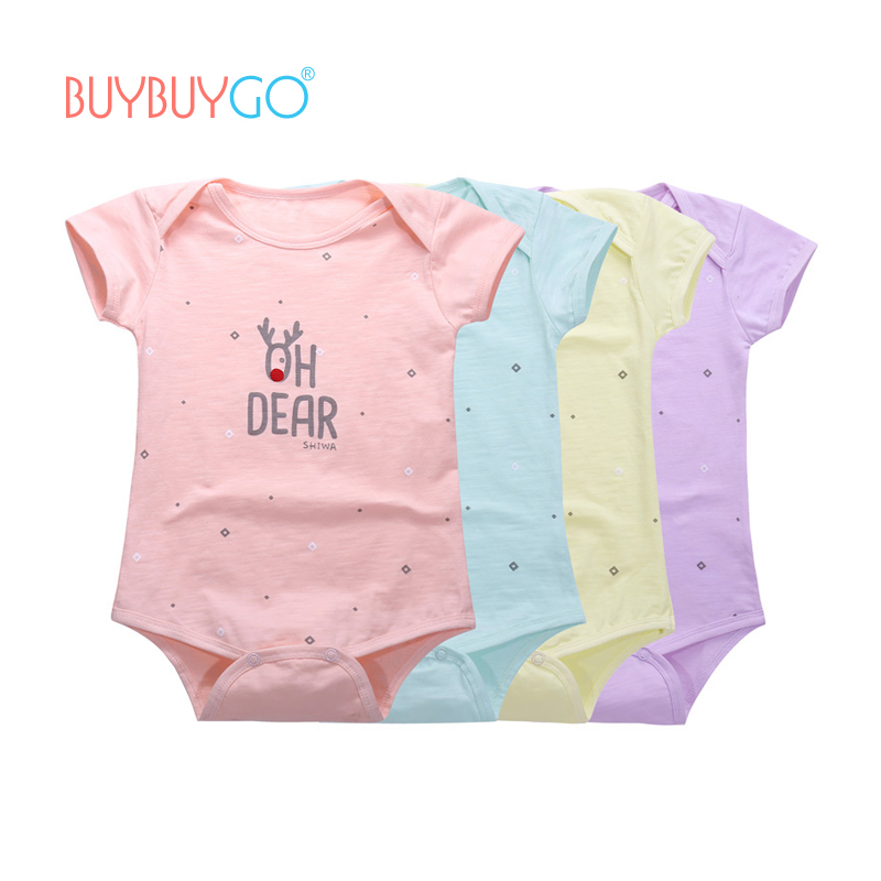 7c712e03bf3 4pcs lot 2017 Summer Baby Bodysuits 100% Cotton Girls Short Sleeve Fruit  Floral 6