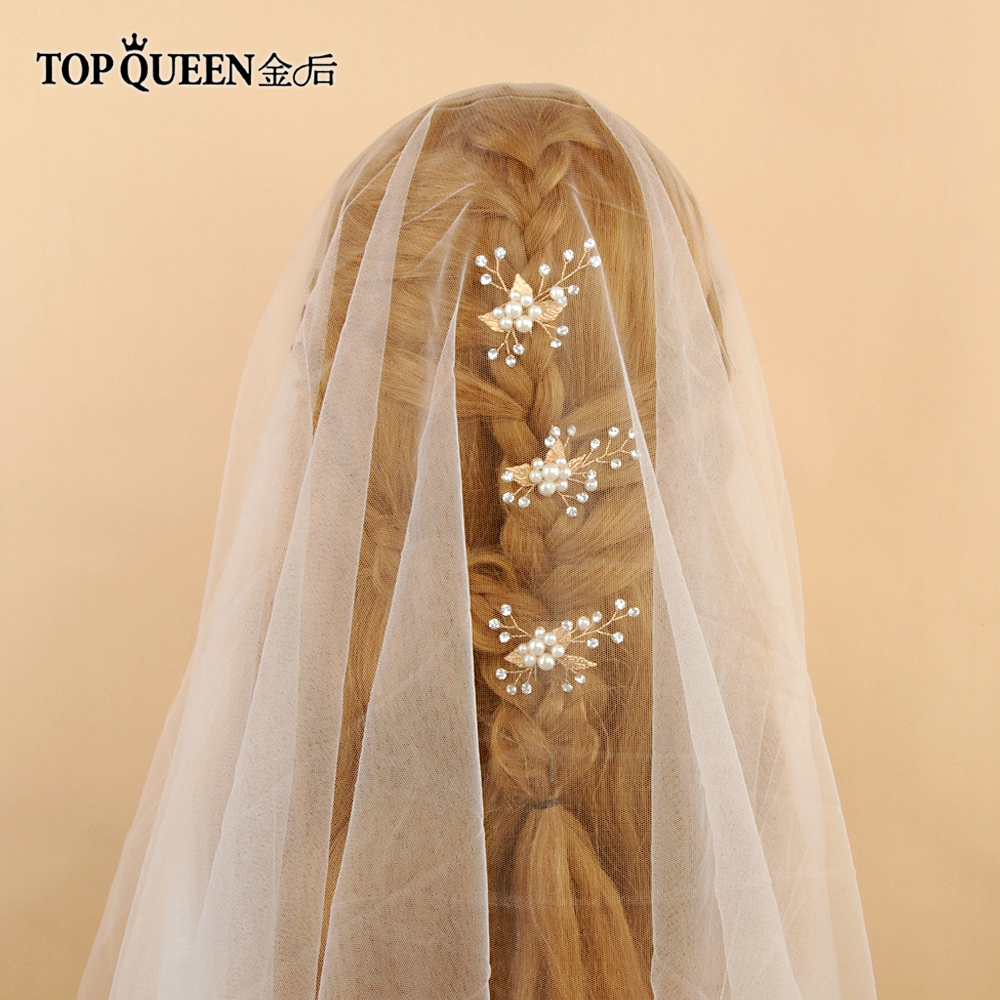 TOPQUEEN HP133-G Wedding Hair Clip Handmade Pearls Rhinestones Gold Flower Leaf High Quality Bridal Headpiece Hair Accessories
