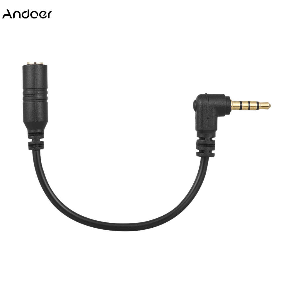 Andoer EY-S04 3.5mm 3 Pole TRS Female to 4 Pole TRRS Male Microphone Adapter Cable Audio Stereo Mic Converter for iPhone Samsung