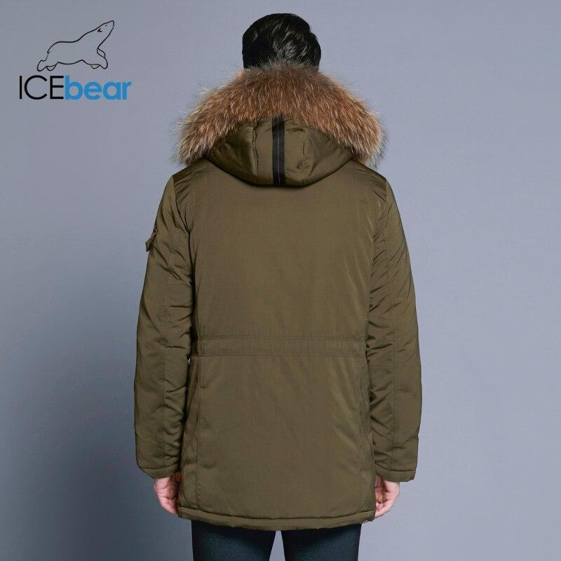 ICEbear 2018 Homme Hiver Chaud Marque Veste De Luxe Amovible Col De Fourrure Col Roulé Coupe-Vent Concis Confortable Poignets 17MD903D - 4