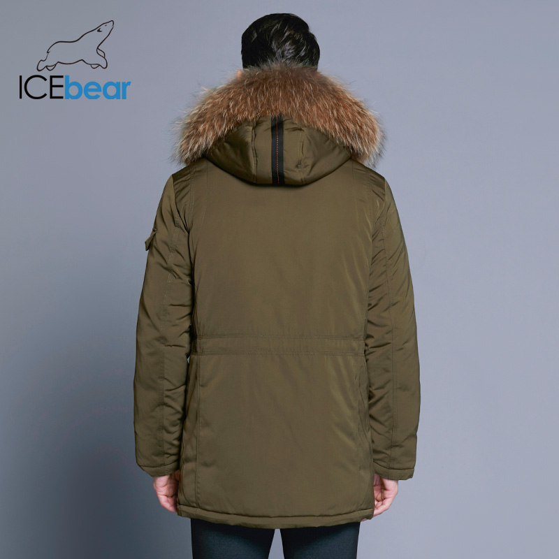 Image 4 - ICEbear 2019 Man Warm Winter Brand Jacket Luxury Detachable Fur Collar Turtleneck Windproof Concise Comfortable Cuffs 17MD903D-in Parkas from Men's Clothing