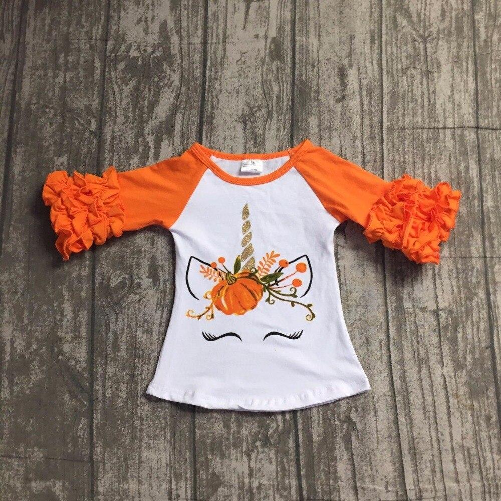 Kinder Halloween raglans kinder mädchen kürbis einhorn raglans baby mädchen orange rüschehülse einhorn raglans top shirts