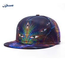 BKONE  Baseball Caps Casual Adjustable Peak Sun Hat 3D Evil Eye Bones Flat Brimmed Casquette Snapback Hip Hop Cap