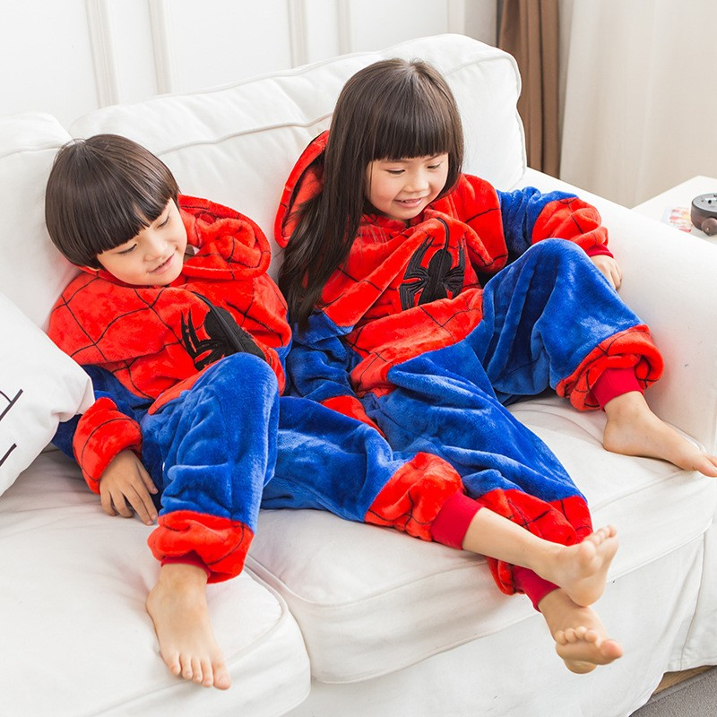 Girl Pajamas Hoodie Sleepwear Onesie Pikachu Minions Spiderman Animal Cartoon Children title=