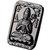 Opening the light card black obsidian twelve zodiac natal Buddha necklace male patron saint female immovable Guanyin pendant