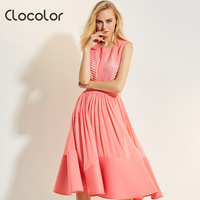Clocolor Women Vintage Dresses Sleeveless Pink Round Neck Pleated Mid Calf A Line 2017 Fashion Summer