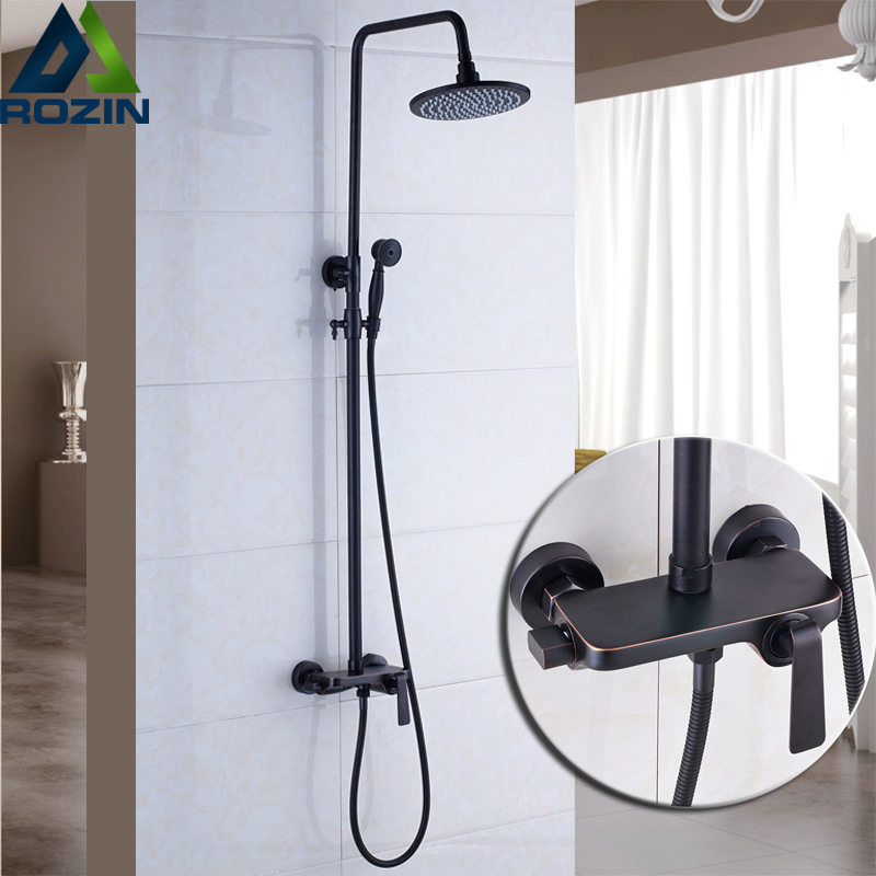 Wall Mounted Bronze Black Shower Faucet Single Handle Round Brass Rainfall Shower Mixer Kit with Handheld Shower brass thermostatic mixer valve shower set mixer faucet two handle wall mount shower kit stainless steel 10 rainfall showerhead