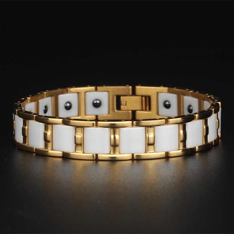 TrustyLan здоровый баланс Магнитный мужской браслет блестящий золотой цвет стальные браслеты для женщин черный/белый керамический браслет ювелирные изделия