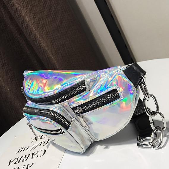 2018 new fanny pack multi-function steam punk leg fashion bag Reflective laser Shoulder womens belt waist bag pochete Kanken