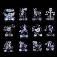 Children Gift 3D Crystal Zodiac Signs Flashing LED Light Kids Jigsaw Puzzle Model Toy 3D Horoscope
