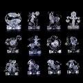 Дети Подарок На День Рождения 3D Кристалл Зодиака Знаки Мигающий Светодиод Дети Головоломки Модель Игрушки 3D Гороскоп Головоломка Игрушки