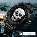 Crânio esqueleto Homens Relógio Relógios de Luxo Da Marca de Quartzo Relógio Do Esporte Relógio Reloj Militar de Aço Inoxidável À Prova D' Água Masculino Wristatch