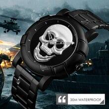 Crânio esqueleto Homens Relógio Relógios de Luxo Da Marca de Quartzo Relógio Do Esporte Relógio Reloj Militar de Aço Inoxidável À Prova D Água Masculino Wristatch