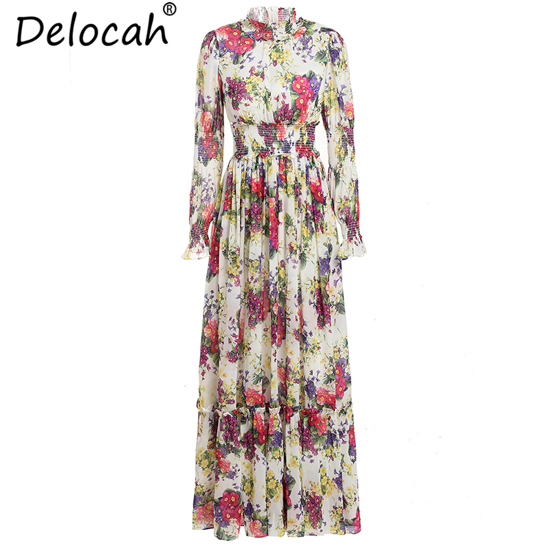 Delocah New Women Summer Dresses Runway Fashion Long Sleeve Floral Printed Elastic Waist Elegant Vintage Vacation Long Dresses image
