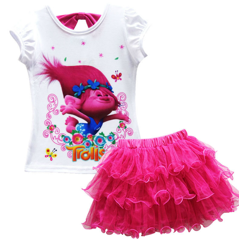Summer Girls Clothes Sets Trolls Costume for Kids Children Clothing Sets Tracksuits for Girls Top Tees + Skirts 2 Pcs santa claus christmas costume for kids clothes top lace tutu skirts children girls clothing sets vetement fille christmas gift