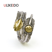 100% Pure 925 Sterling Silver Jewelry Feather Rings Opening Wide Version Men Signet Ring For Women Special Fine Gift 1038 100% pure 925 sterling silver jewelry bird rings opening vintage men signet ring for women fine gift 0013