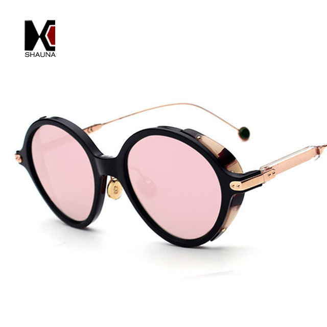 d6d08f9281c SHAUNA Retro Punk Styles Women Round Sunglasses Brand Designer Unique Men  Mirror Lens Shade Goggle Eyewear