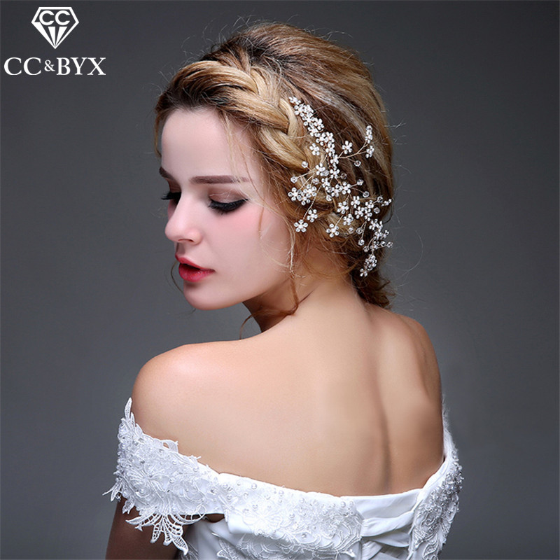 CC Jewelry Crowns Comb Hair Combs Crown Bride Wedding Hair Accessories For Women Party Crystal Headwear Snowflake Flowers 0613 handmade wedding bride white lace hair accessories korean women rhinstone fascinator fancy headwear fringe forehead headwear new