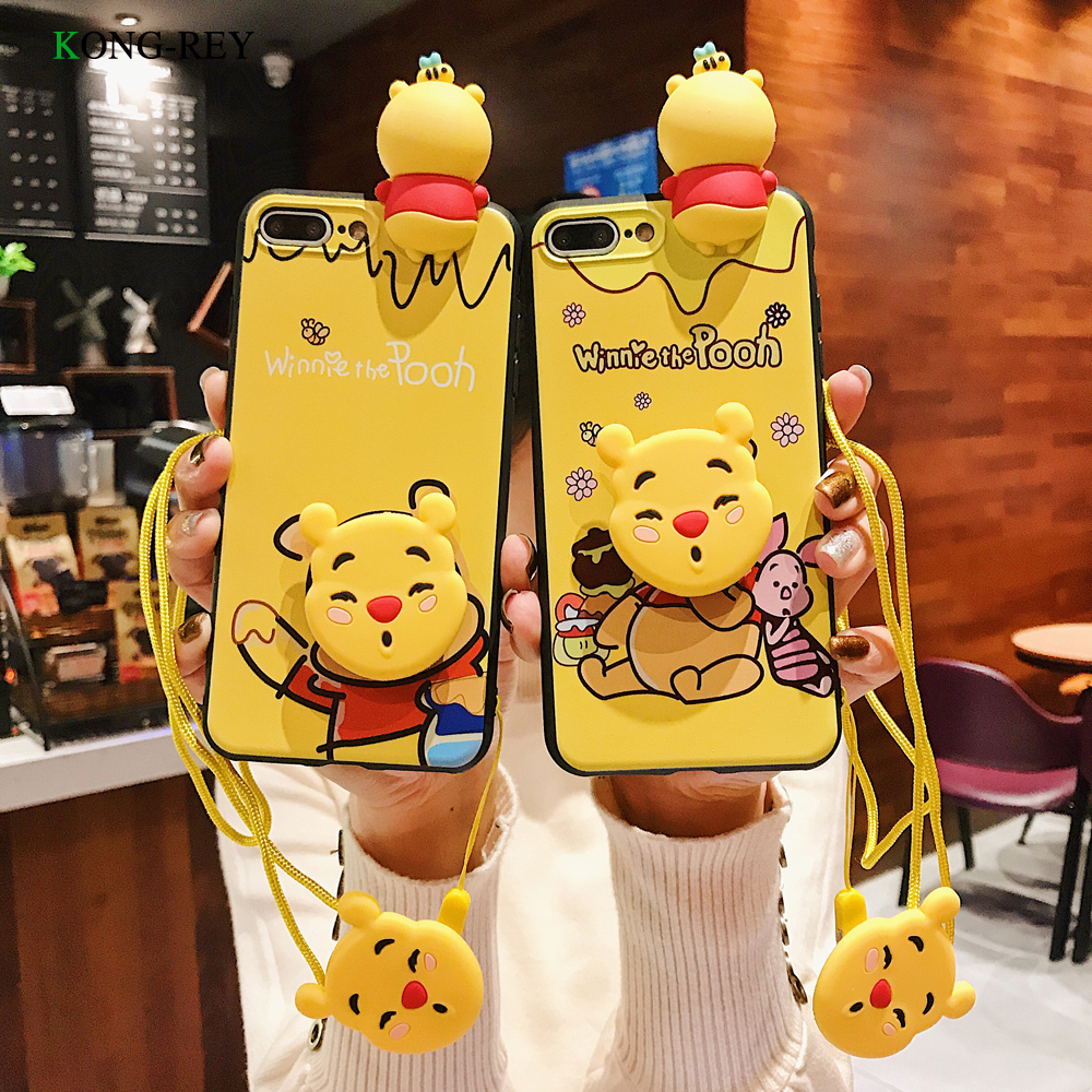 Artoon Cute yellow Silicone Phone Case With LanyardFor iphone 6 8 X XR XS Mobile Phone Cover TPU Soft Cover Case For iPhone 7 in Phone Bumpers from Cellphones Telecommunications